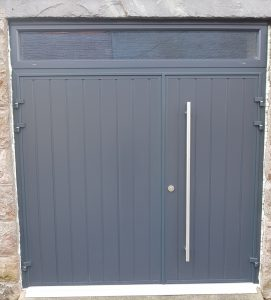 CarTeck insulated side-hinged doors in Anthracite Grey vertical rib in one third two third split with long pull handle