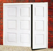 Gloss white Cardale Georgian side hinged garage door with 1/3 : 2/3 split