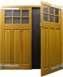 Cedardoor glazed timber side hinged garage door