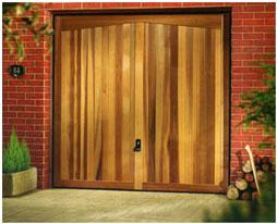 Garador Barrington Cedar garage door on dark brown steel fixing frame
