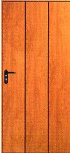 Picture of Hormann Vertical-Rib side door in Golden Oak Decograin