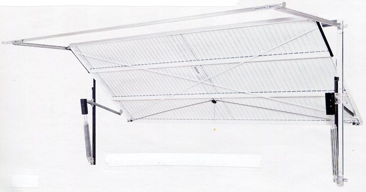 Picture of inside view of a Hormann double retractable garage door on a steel frame