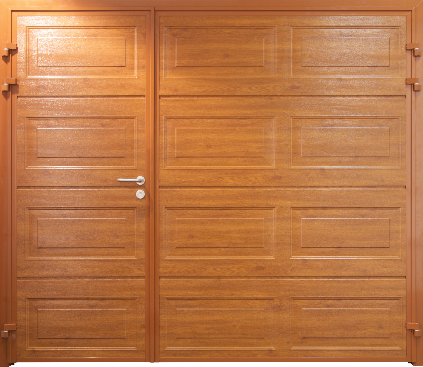1229 #B86213  Horizontal Side Hinged Garage Doors In Golden Oak Laminate Finish pic Horizontal Garage Doors 37811417