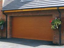 Golden oak double aluroll insulated roller door
