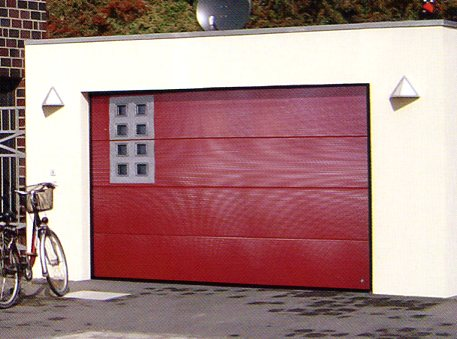 Ryterna Micro-Rib sectional garage door with square glazing