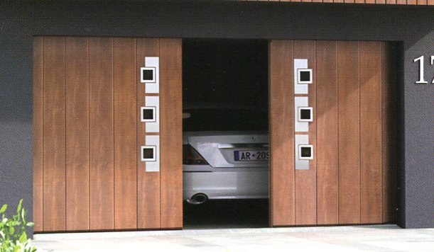 Picture of a pair of Ryterna side sliding garage doors in Light Oak