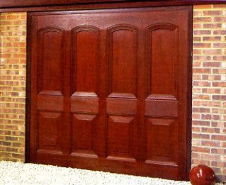 Picture of the Wessex Compton GRP garage doors in Dark Mahogany