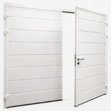 Carteck insulated side hinged garage door. The model shown is with horizontal centre rib
