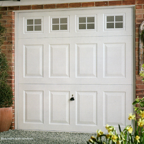 Garador Beaumont with windows white powdercoated steel door