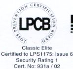 Aluroll Elite accredited with  security rating 1 by the LPCB