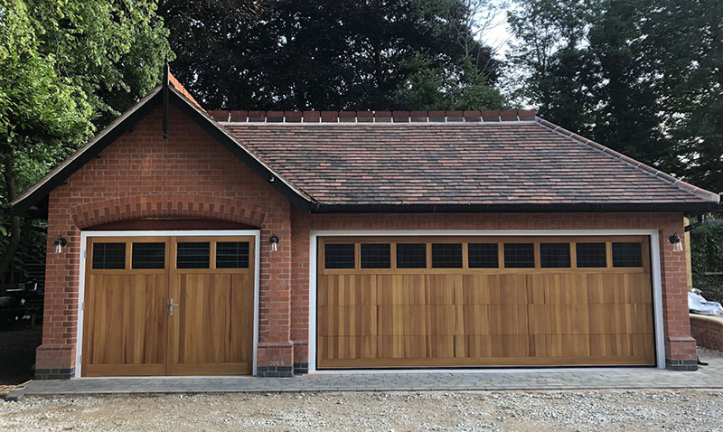 Matching Cedar Door Derwent Made to Measure sectional and Cedar Door Ashbourne side hinged Traditional Boarded