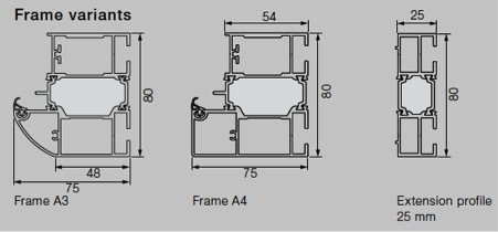 Technical drawings of Hormann ThermoPlus frame options.