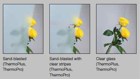 Hormann glazing options. Sand-blasted, sand-blasted with clear stripes and clear glass.