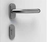 A brushed stainless steel lever handle and stainless steel escutcheon.