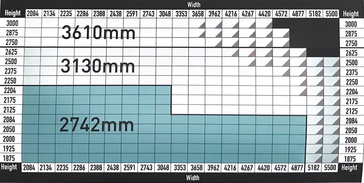 Horizontal track lengths for Carteck sectional garage doors.