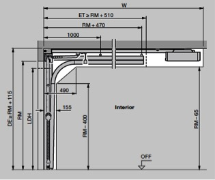 Vertical view (with operator). Track application Z for sectional doors under 10ft wide on Z gear.