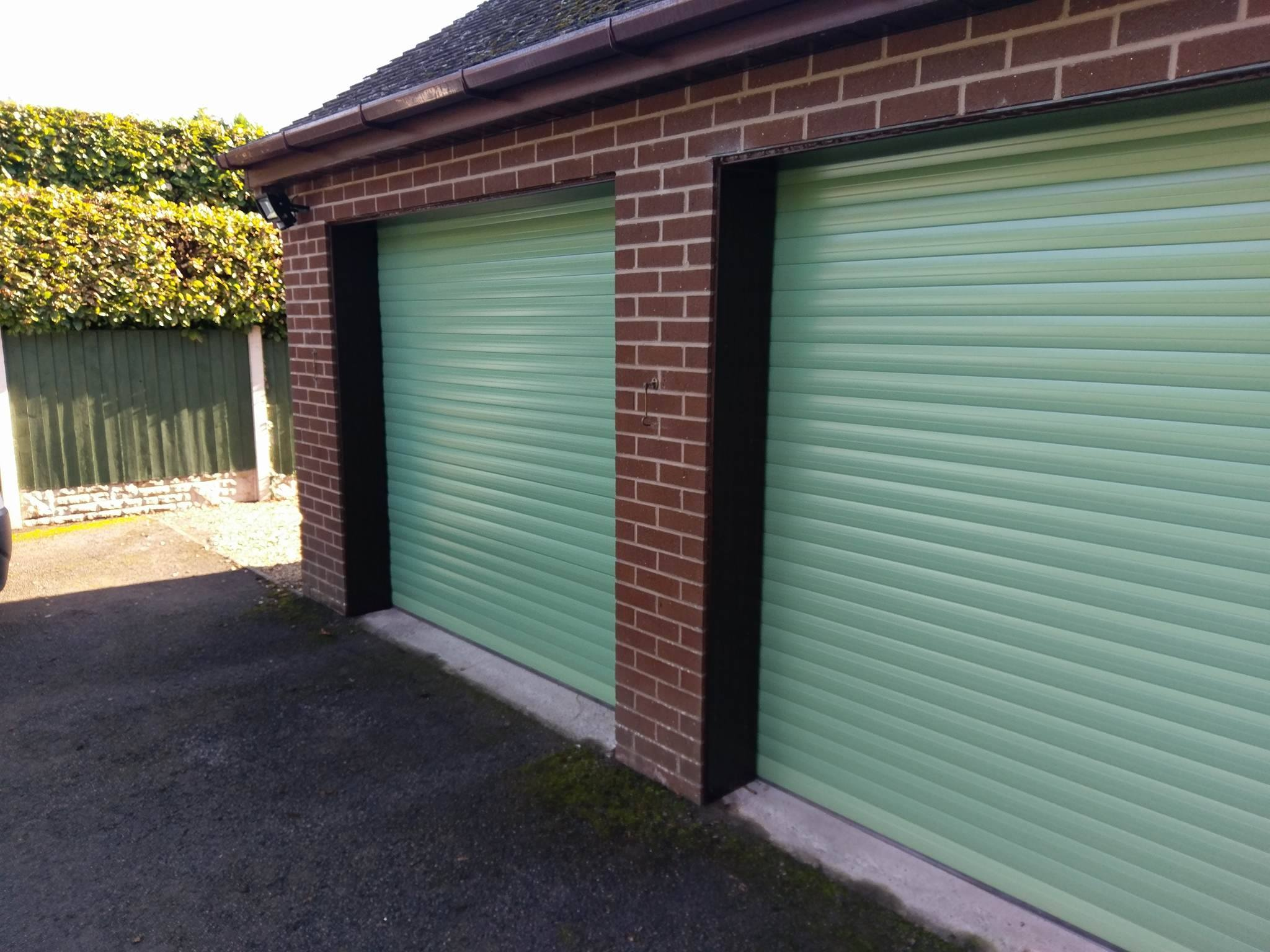 Aluroll Classic insulated roller doors in Sage Green