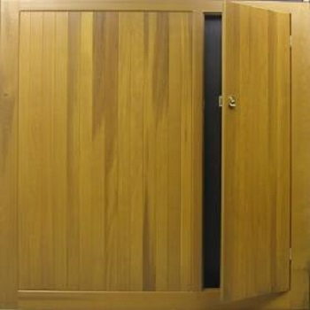 Cedar Door timber up and over with a Wicket door