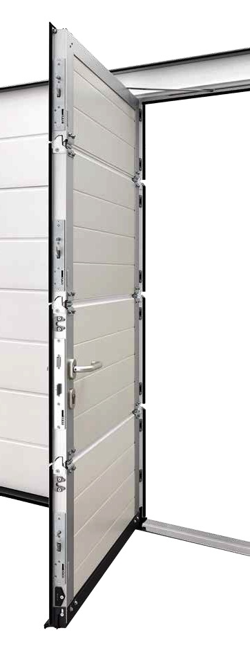 Hormann sectional wicket door. Shown with optional multi-point locking.