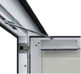 As standard, wicket doors are supplied with slide rail door closers, integrated opening angle limit and hold-open device