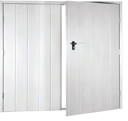 Fort budget steel side hinged garage doors for Garage side door and frame