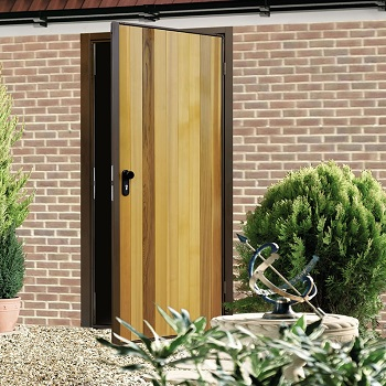 Garador timber matching personnel doors create the perfect match
