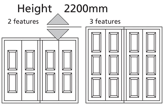 Vertical Georgian doors have 2 rows of features, as standard
