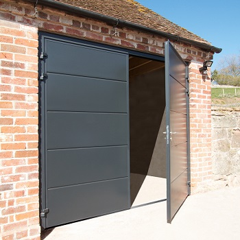 Carteck Horizontal Solid Smooth Insulated Side-hinged garage doors in Anthracite Grey