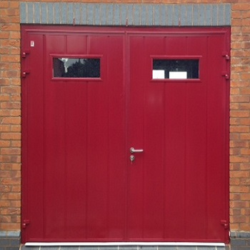 Red Standard Vertical Rib Woodgrain with Rectangle Type 1 Windows