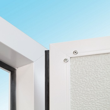 Quality weather strips on all four edges of the door and on the three sided door frame.