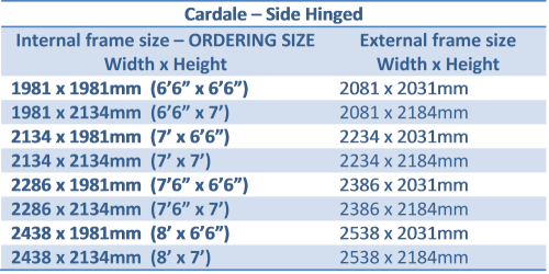 Cardale side hinged doors size chart