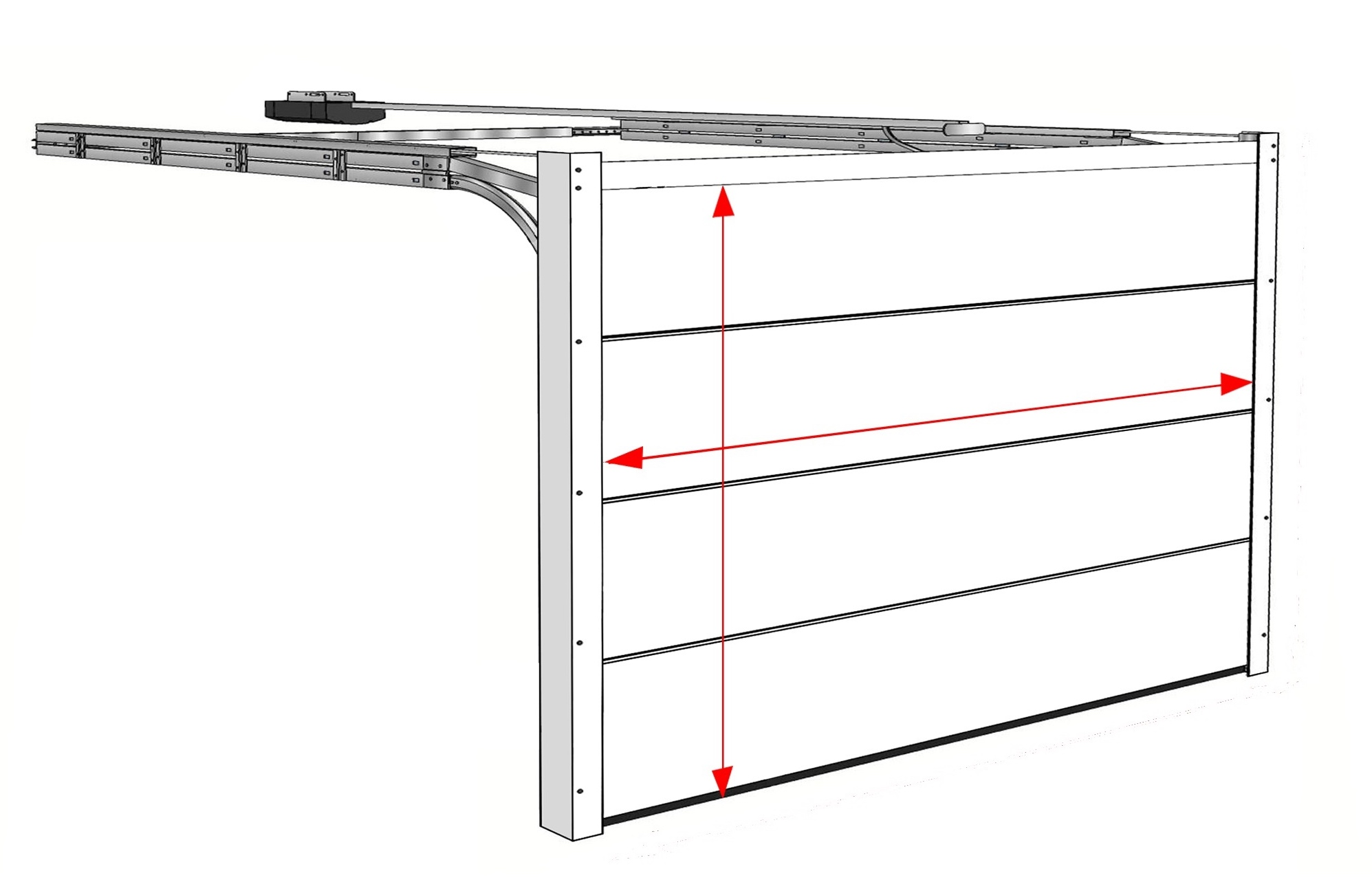 sectional door width and height does not include the frame