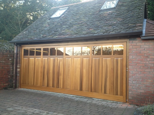 Double Garage Doors Up Over Sectional Wood Roller