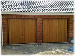 Picture of two timber up & over garage doors