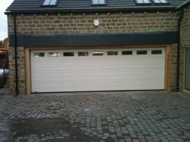 Picture of Shaun's installation of a large Georgian sectional garage door