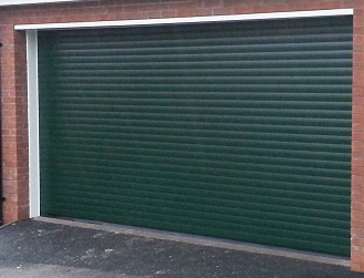 Picture of a roller garage door in green