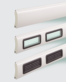 Smooth surface aluminium slats can have glazing and ventiation griilles