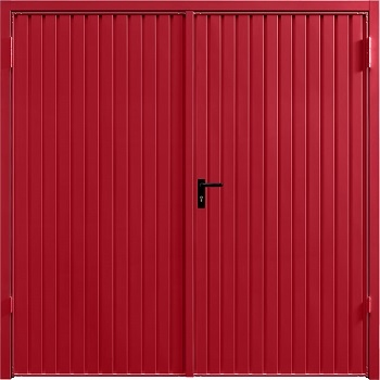 Garador Carlton Steel Side-Hinged garage doors in Ruby Red