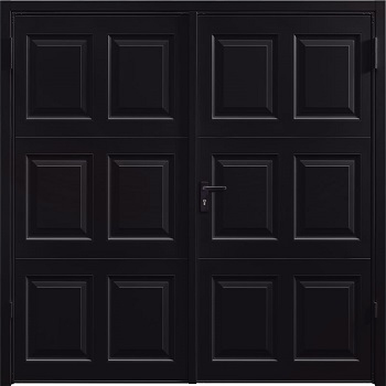 Garador Georgian Steel Side-Hinged garage doors in Jet Black