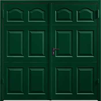 Garador Cathedral Steel Side-Hinged garage doors in Fir Green