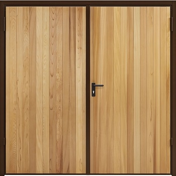 Garador Vertical Cedar Side-Hinged garage doors