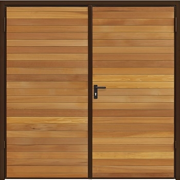 Garador Horizontal Cedar Side-Hinged garage doors