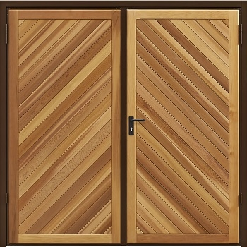 Garador Chevron Cedar Side-Hinged garage doors
