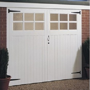 Jeldwen Vertical Rib Glazed Timber Side Hinged Garage Doors