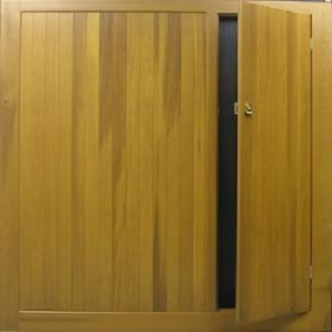 Cedar Door Bakewell garage door with Wicket