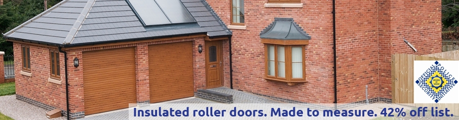 Aluroll insulated roller doors in Golden Oak foil laminate.