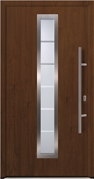 Hormann ThermoPlus THP 700 front door in Dark Oak Decograin