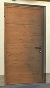 Hormann L-Ribbed Decograin Side Door in Winchester Oak