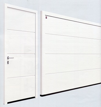 L-Ribbed sectional garage door with matching side door
