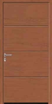 Hormann L-Ribbed Decograin Steel Side Door in Golden Oak